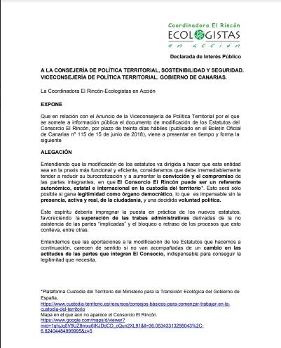 Alegaciones a la modificación del Consorcio El Rincón