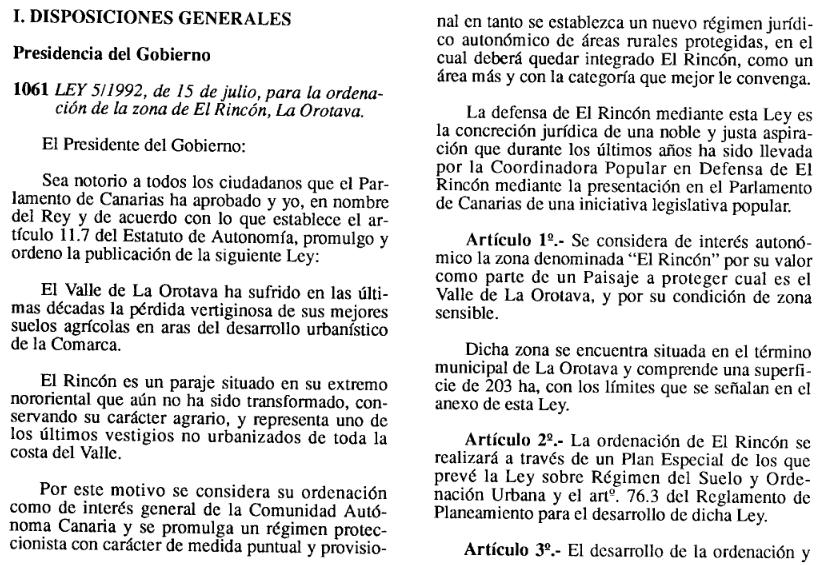 Plan Especial de Ordenación de El Rincón
